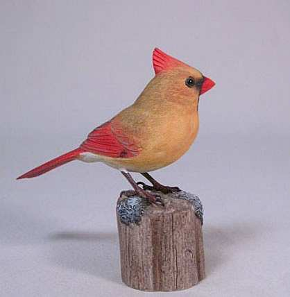 Carved Northern Cardinal Female 4-1/2