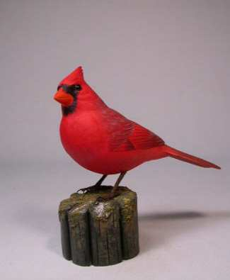 Carved Northern Cardinal Life-Size Male #1