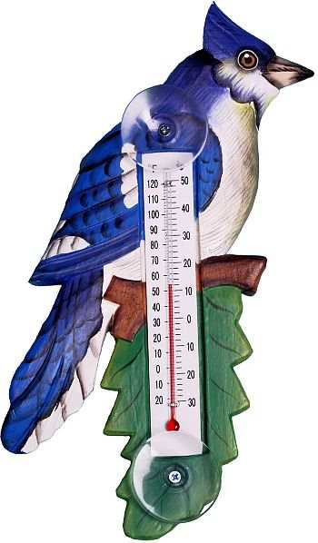Window Thermometer Blue Jay Small