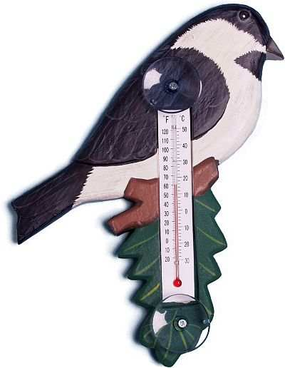 Window Thermometer Chickadee Small