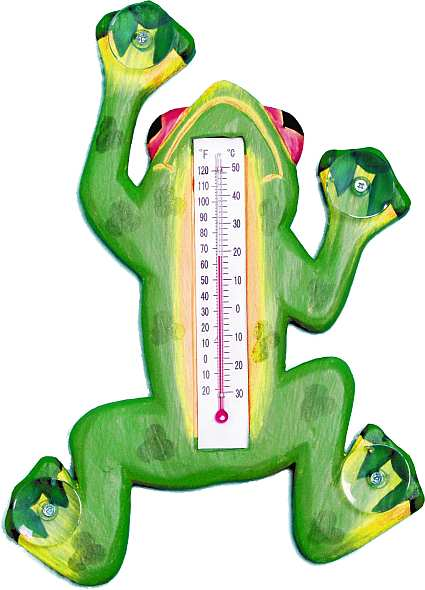 Window Thermometer Climbing Green Frog Large