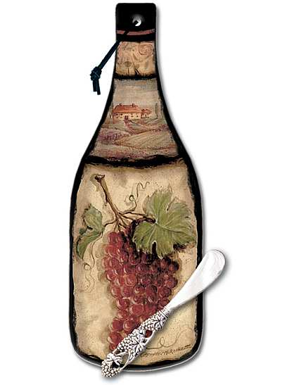 Wine Bottle Cheese Server Tuscan Collage