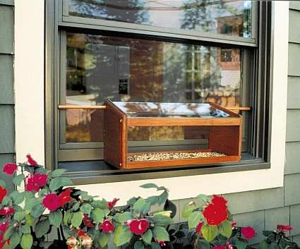Conservation Mahogany Windowsill Feeder w/Mirror