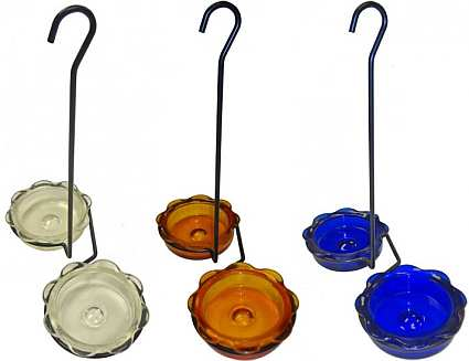 Double Glass Dish Hanging Feeder