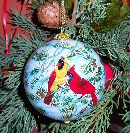 Songbird Series Fire In the Snow Ornament