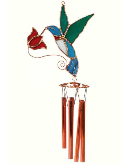 Stained Glass Windchime Hummingbird Red Small