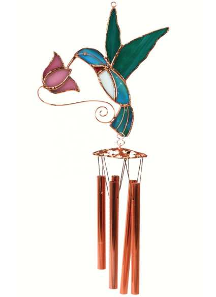 Stained Glass Windchime Hummingbird Pink Small