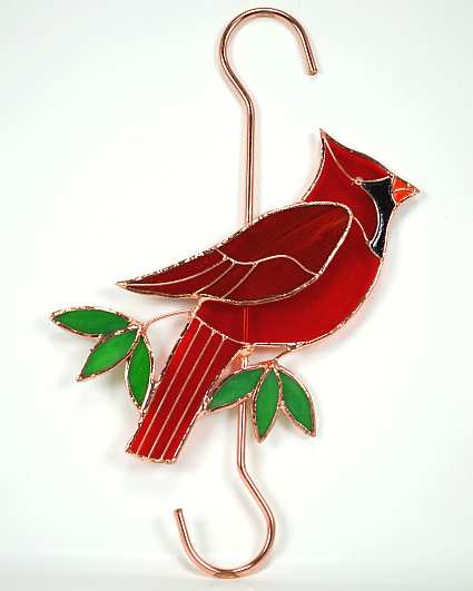 Stained Glass Garden Hook Cardinal