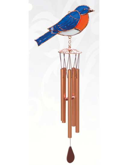 Stained Glass Windchime Bluebird Small