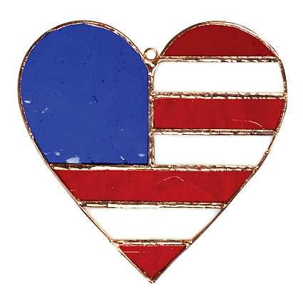 Stained Glass Suncatcher Patriotic Heart
