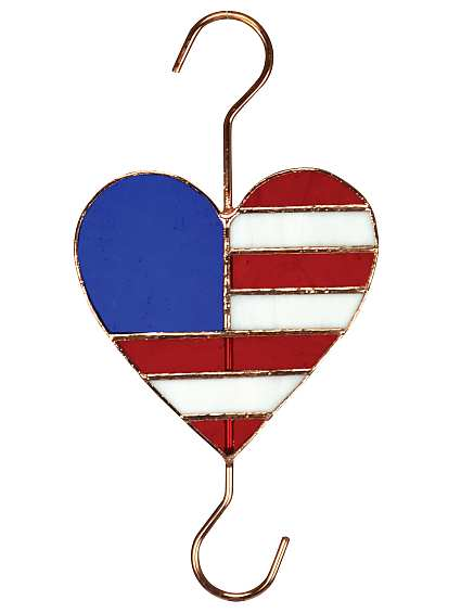 Stained Glass Garden Hook Patriotic Heart