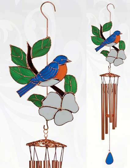 Stained Glass Windchime Bluebird Large
