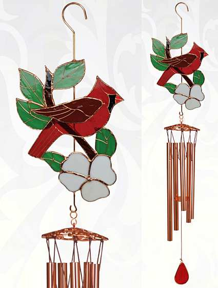 Stained Glass Windchime Cardinal Large