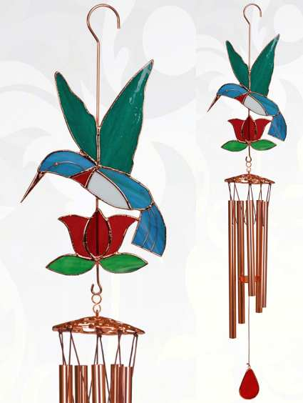 Stained Glass Windchime Hummingbird Red Large