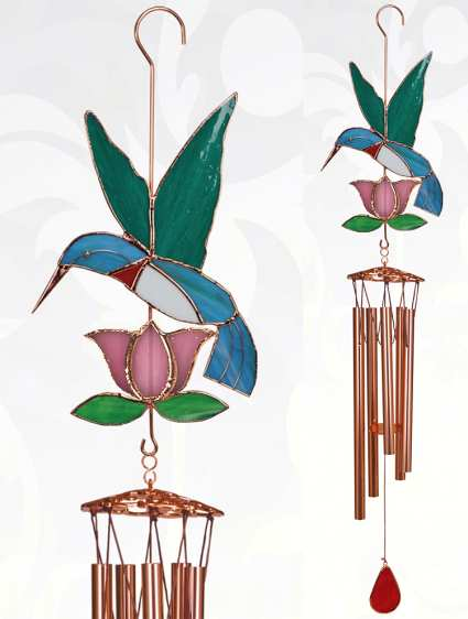 Stained Glass Windchime Hummingbird Pink Large