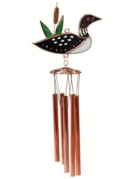 Stained Glass Windchime Loon Small