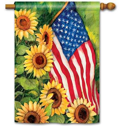 Breeze Art American Sunflowers House Flag