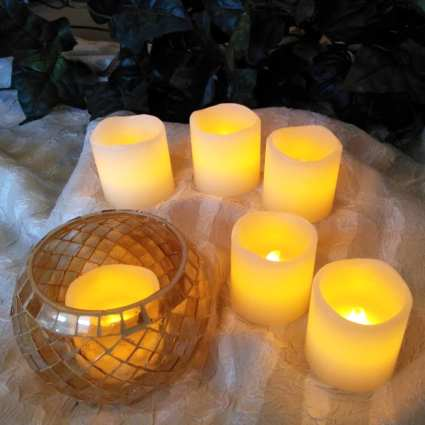 LED Vanilla Candle Wax Votives Melted Top Set of 6