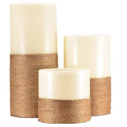 LED Flameless Candle Pillar Jute Wrapped 3pc Set