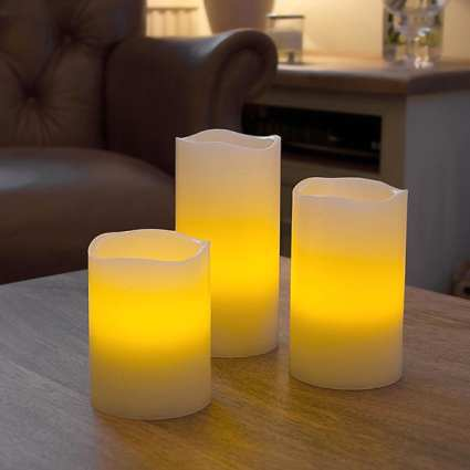LED Vanilla Scented Wax Candle Gift Box Set of 3