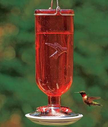 Antique Red Ruby Glass Hummingbird Feeder