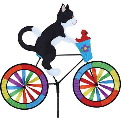 Tuxedo Cat Bicycle Garden Spinner Large