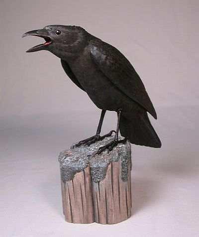 Original Wood Bird Carvings 10 Inch American Crow Carved Wood Bird