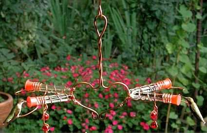 Copper Victorian Love Birds Hummingbird Feeder