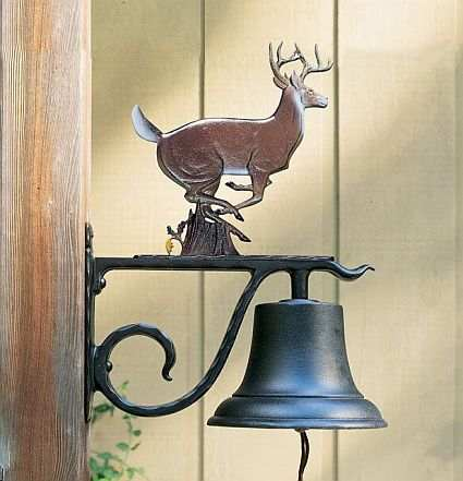 Large Country Bell with Whitetail Deer Painted