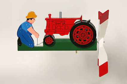Classic Antique Tractor Red Whirligig