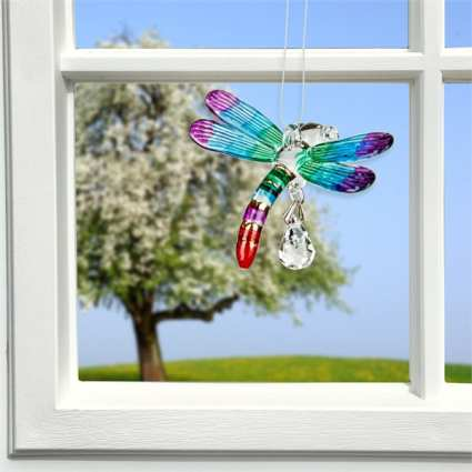 Fantasy Glass Suncatcher Dragonfly Summer