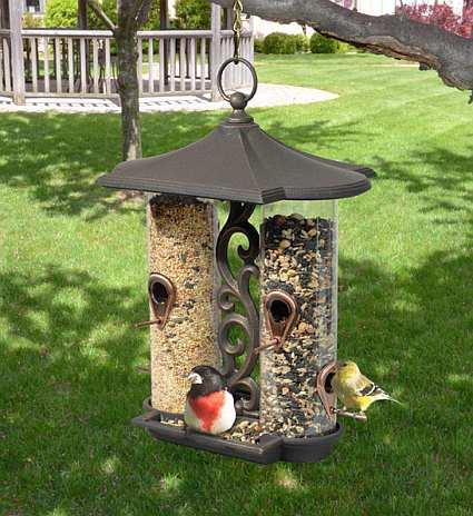 Whitehall garden design twin tube bird feeder decorative - Bird feeder garden designs ...