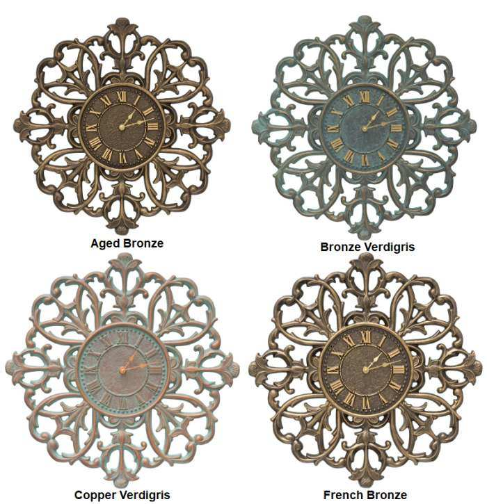 "Filigree Silhouette 21"" Indoor Outdoor Wall Clock"