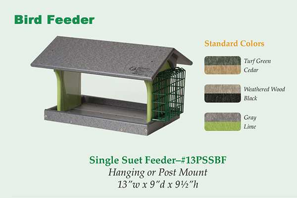 Amish Recycled Poly Hopper Feeder w/Single Suet