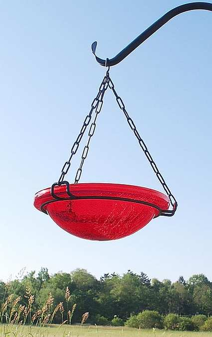 Achla Hanging Crackle Glass Bird Bath Red