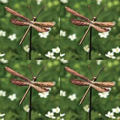 Flamed Copper Dragonfly Garden Ornaments Set Of 4, Dragonfly Garden Stake  Ornaments At Songbird Garden