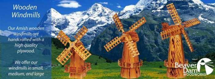 Amish Handcrafted Wooden Windmills
