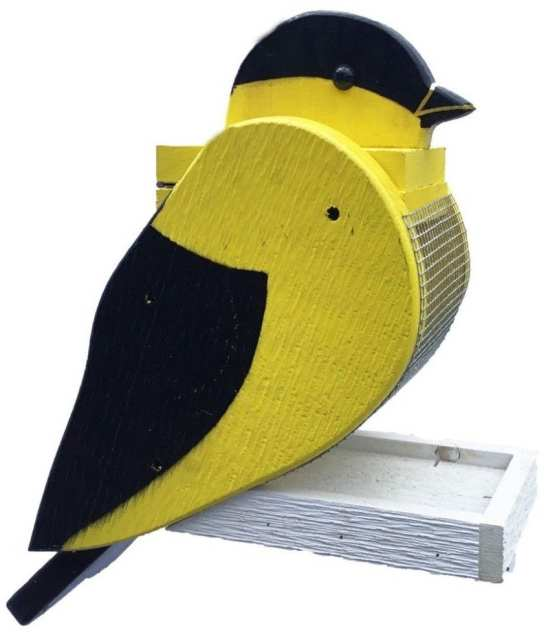 Amish Handcrafted Wooden Bird Feeder Goldfinch