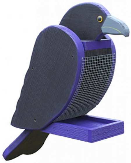 Amish Handcrafted Wooden Bird Feeder Raven