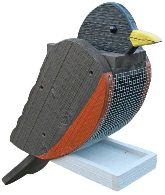 Amish Handcrafted Wooden Bird Feeder Robin