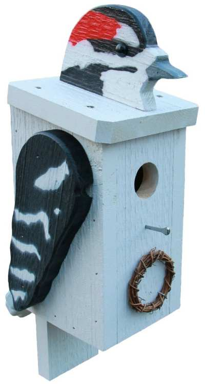 Amish Handcrafted Wooden Bird House Downy Woodpecker