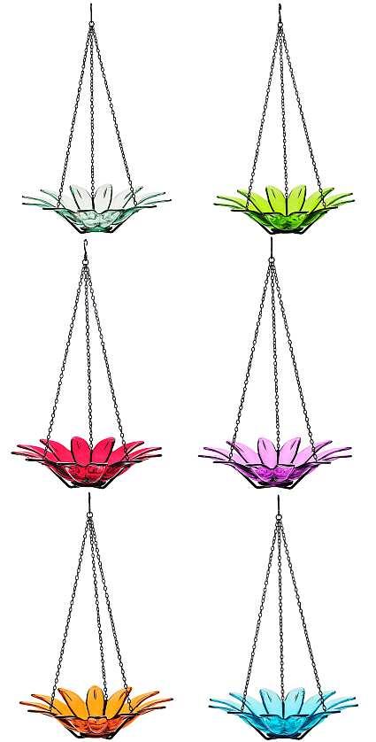 Hanging Daisy Glass Birdbath 12""