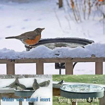 "14"" Deck Mount Bird Bath Heated in Winter, Non-Heated in Spring, Summer and Fall!"