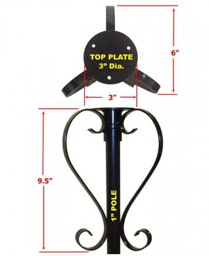Round Top Bird Feeder Mounting Plate With Scrolls