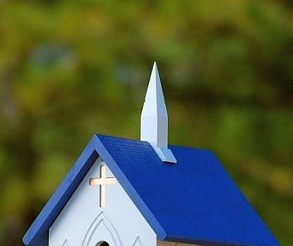 "Fancy Home Products 12"" Church Bird Feeder Blue Roof"