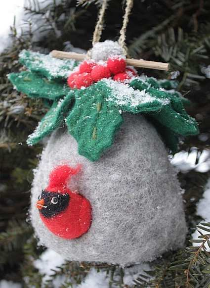 Wild Woolie Holly Bird House with Cardinal Bird Ornament