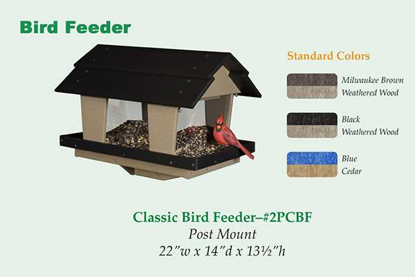 Amish Recycled Poly Classic  Bird Feeder