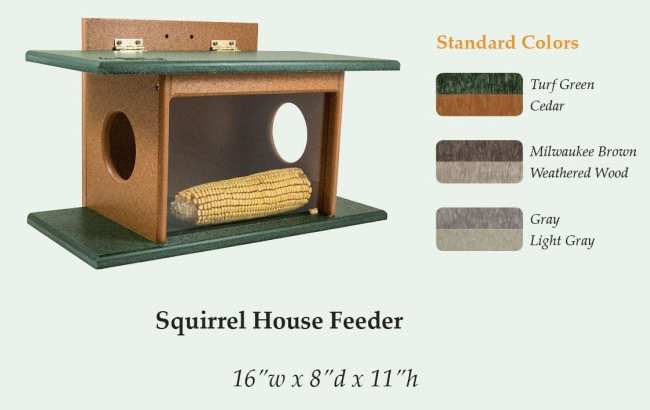 Amish Recycled Poly Squirrel House Feeder