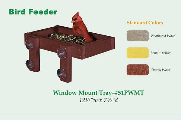 Amish Recycled Poly Window Mount Tray Bird Feeder