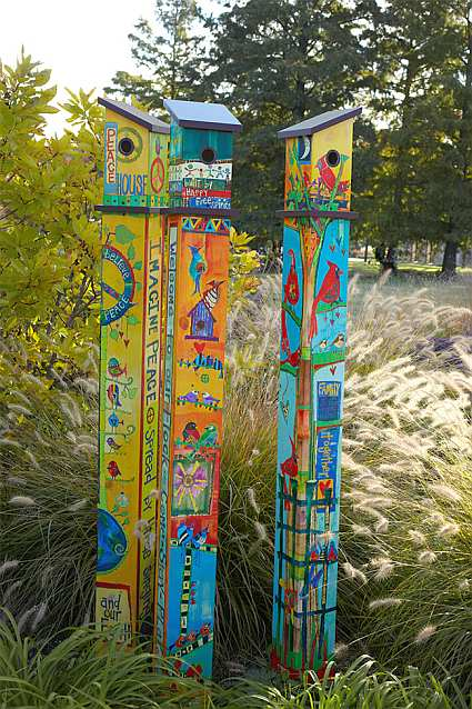 Birdhouse Art Poles